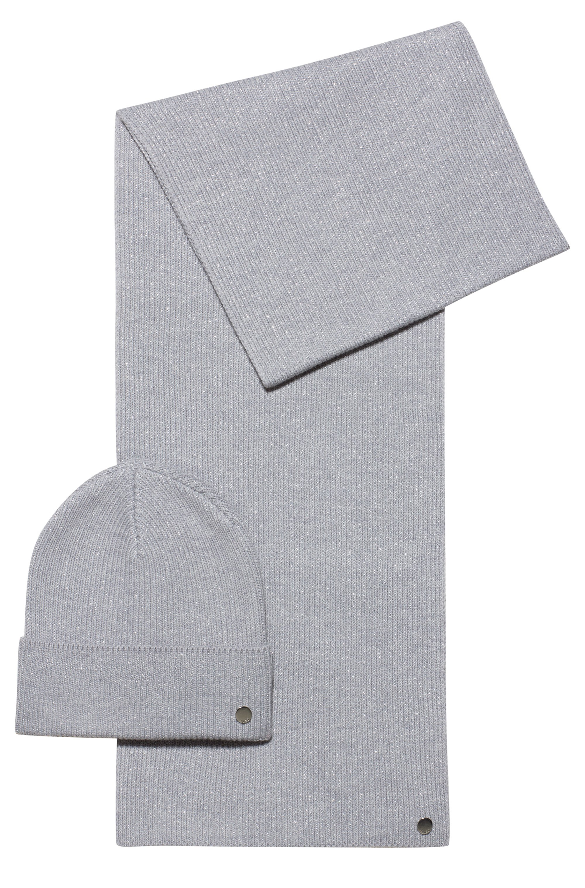Knitted scarf and hat set with metallic yarn, Grey