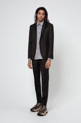 Extra-slim-fit suit in melange stretch wool, Dark Brown