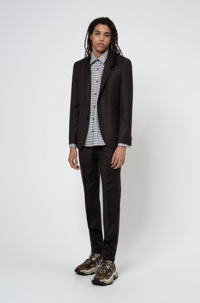 Extra-slim-fit suit in melange stretch wool