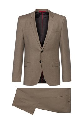 Extra-slim-fit suit in melange stretch wool, Light Brown