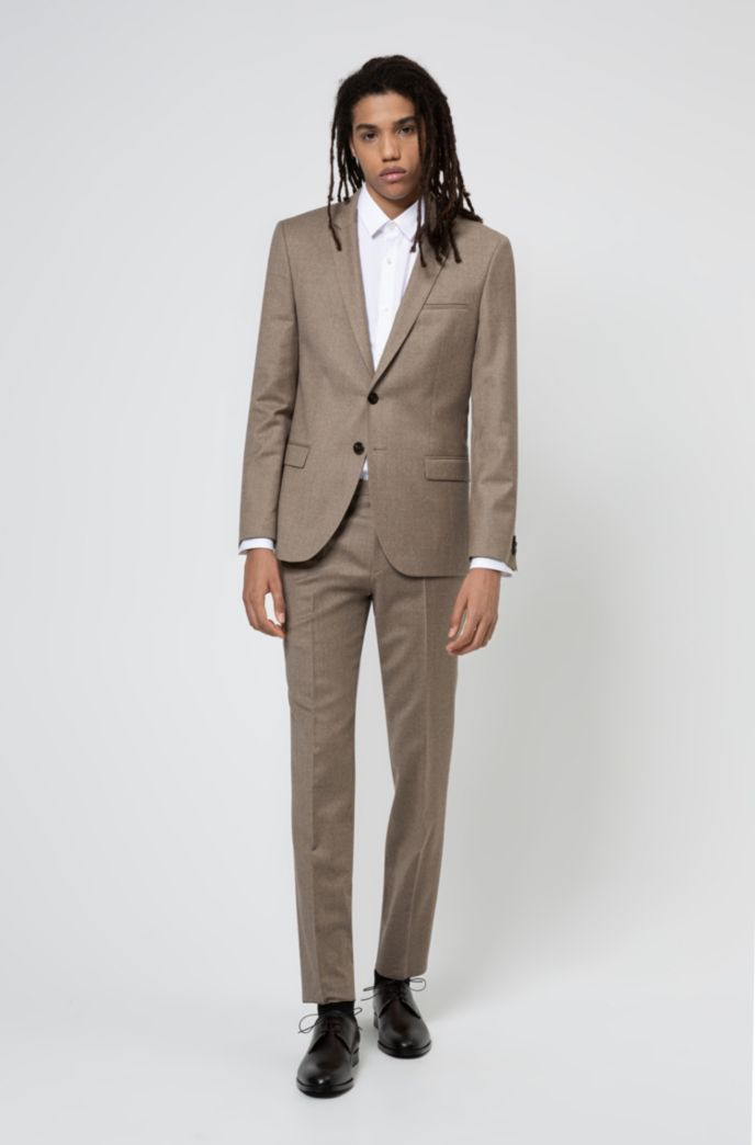 Extra-slim-fit suit in melange stretch wool