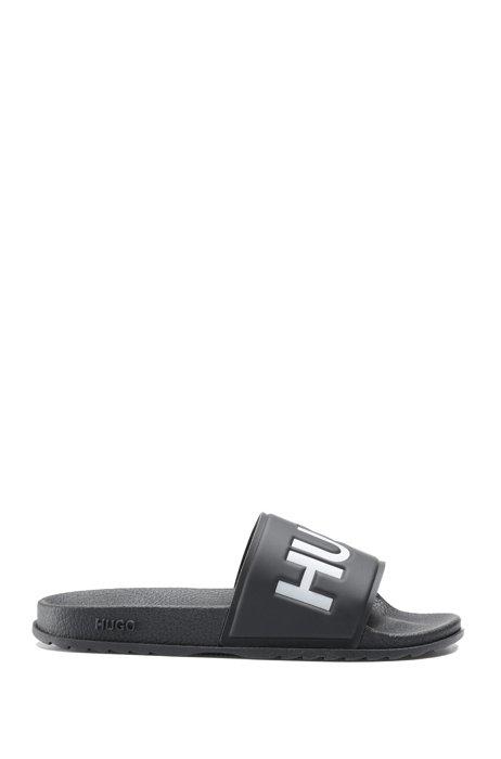 Chanclas fabricadas en Italia con logo en contraste, Negro