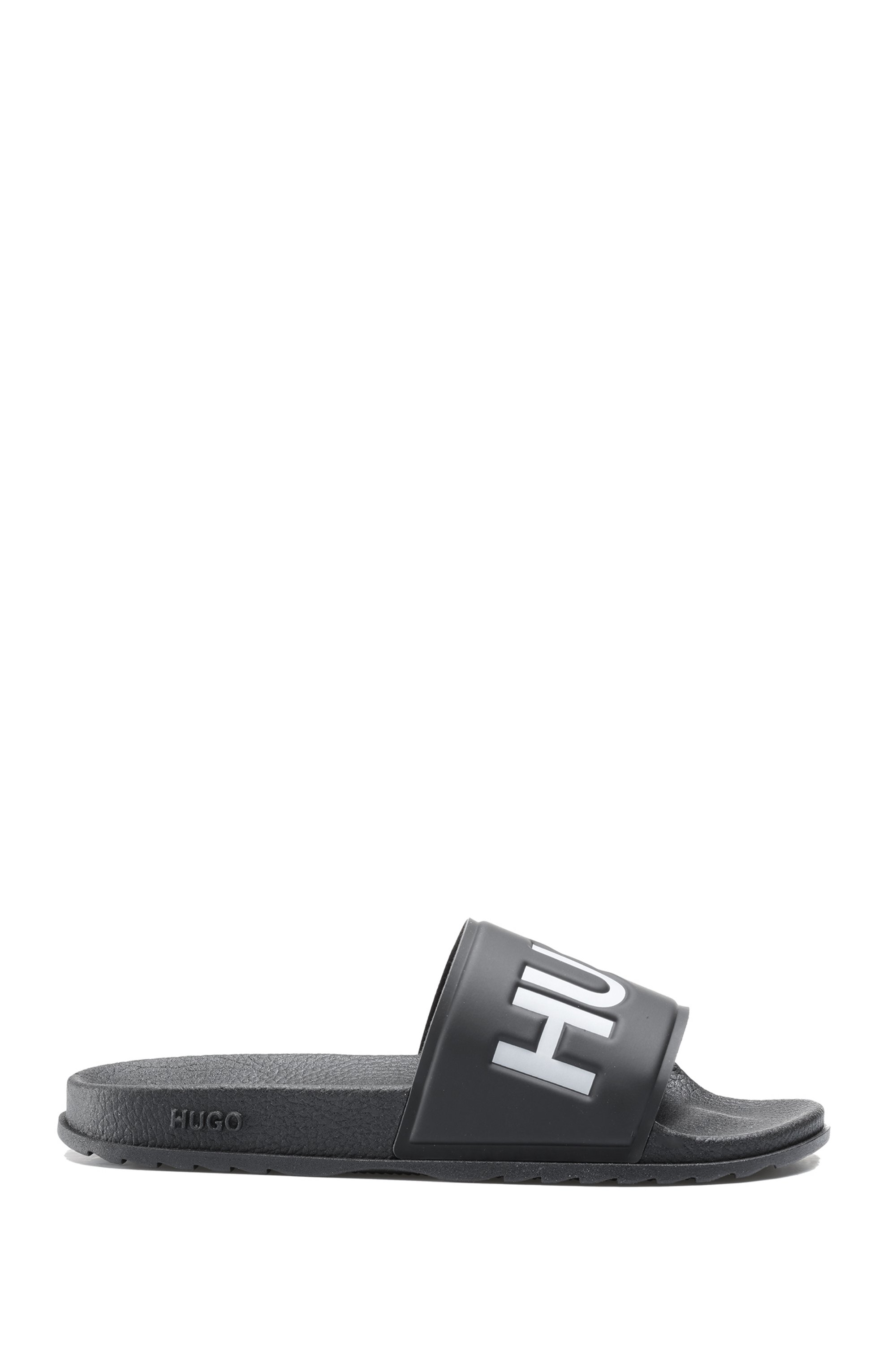 In Italien gefertigte Slides mit kontrastfarbenem Logo, Schwarz