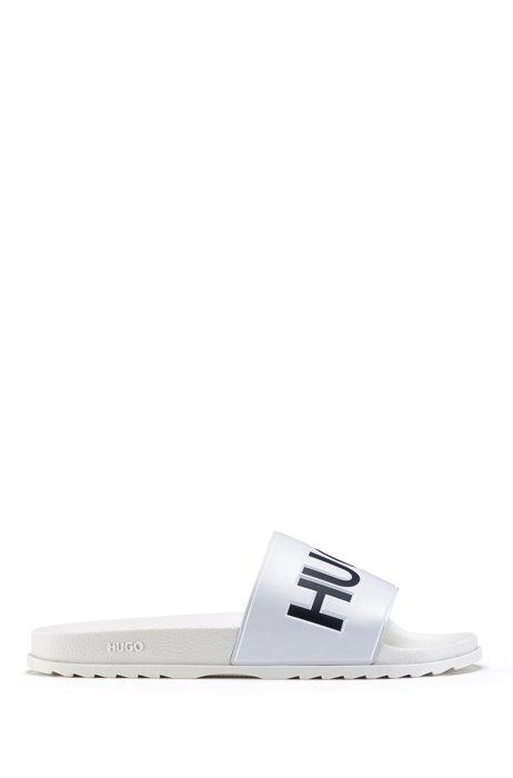 イタリア製スライドサンダル コントラストロゴ, ホワイト