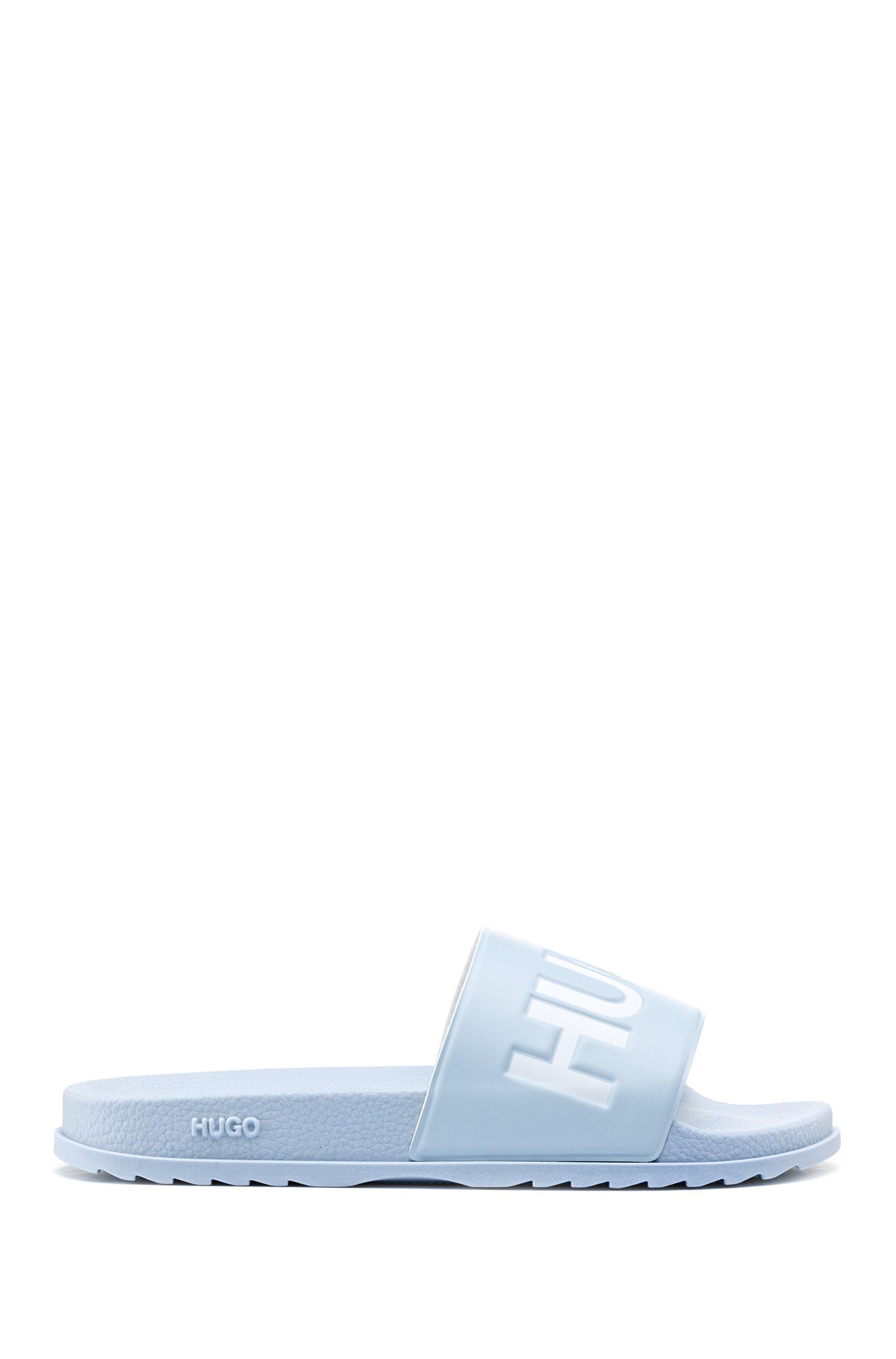 Italian-made slides with contrast logo, Light Blue