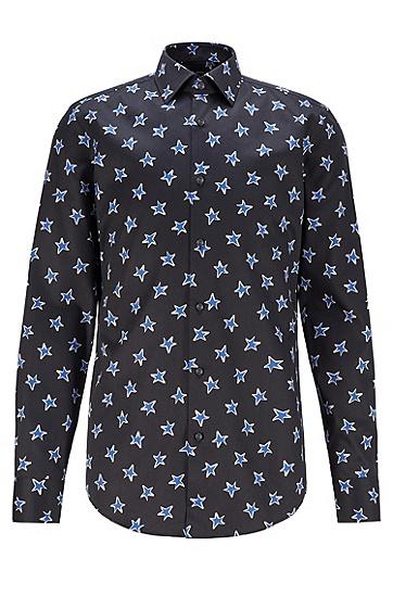 JUSTIN TEODORO系列星形图案黑色衬衫,  001_黑色