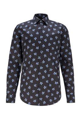 Camisa slim fit en satén de algodón con motivo de estrellas, Negro