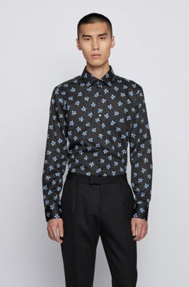 Slim-fit shirt with star motif in cotton satin, Black