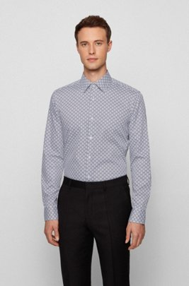 Slim-fit shirt in geometric-print Italian cotton satin, White