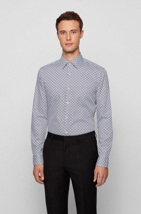Slim-fit overhemd van Italiaanse katoensatijn met geometrische print, Wit