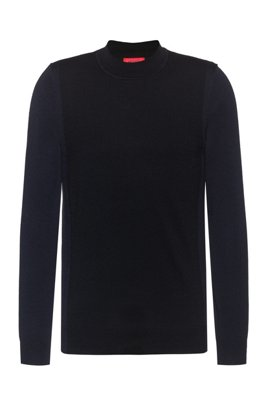 Slim-fit sweater in a merino-wool blend, Black
