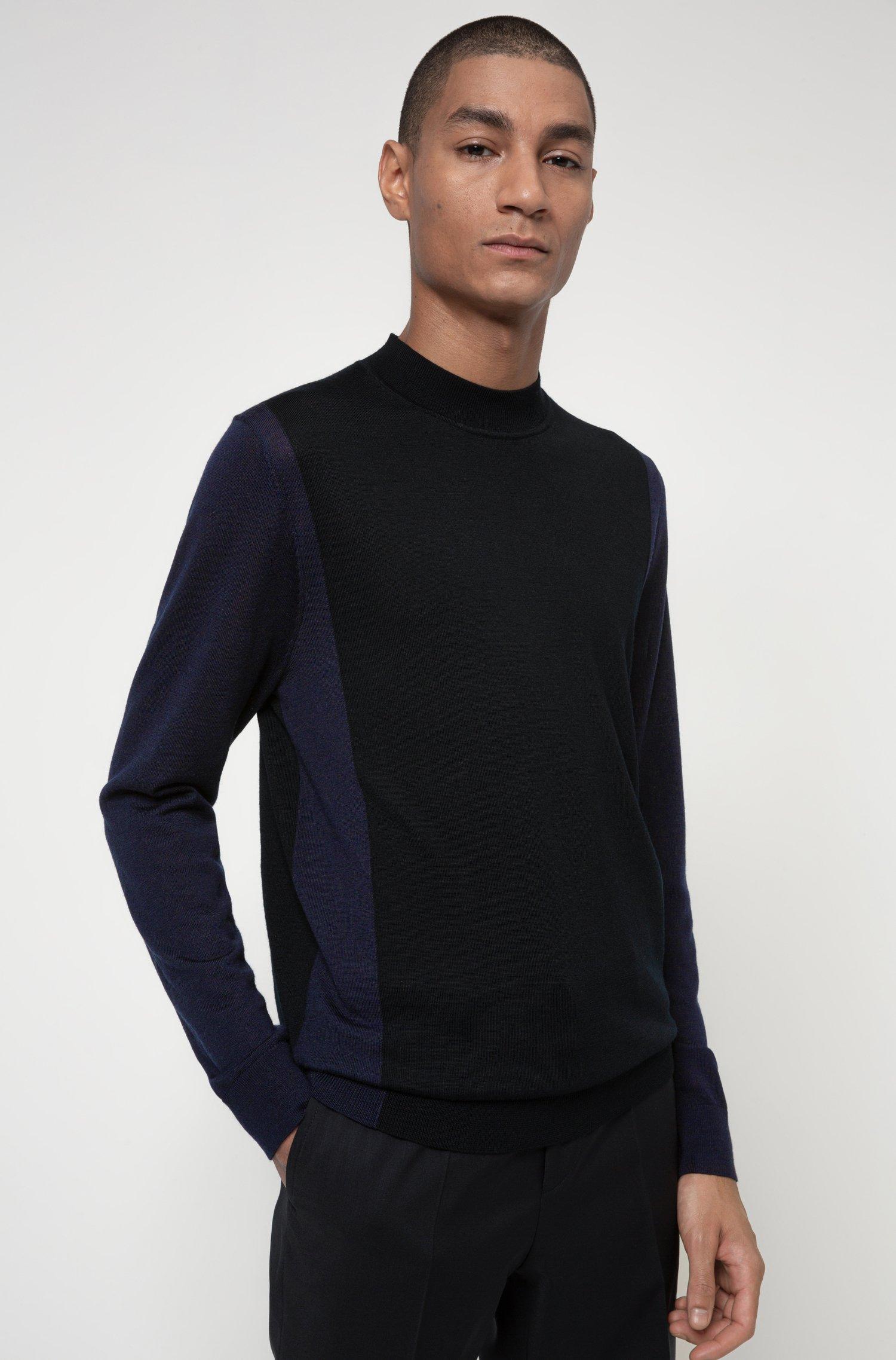 Slim-fit trui van een merinowolmix, Zwart