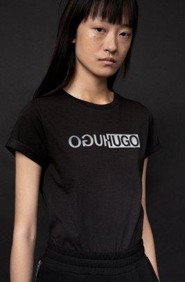 Slim-fit organic-cotton T-shirt with new-season logo print, Black
