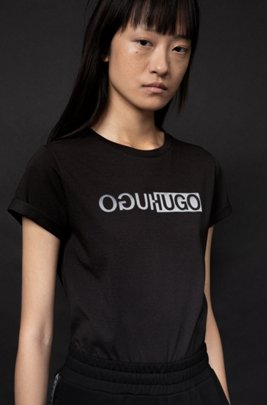 Slim-fit organic-cotton T-shirt with new-season logo print, Black