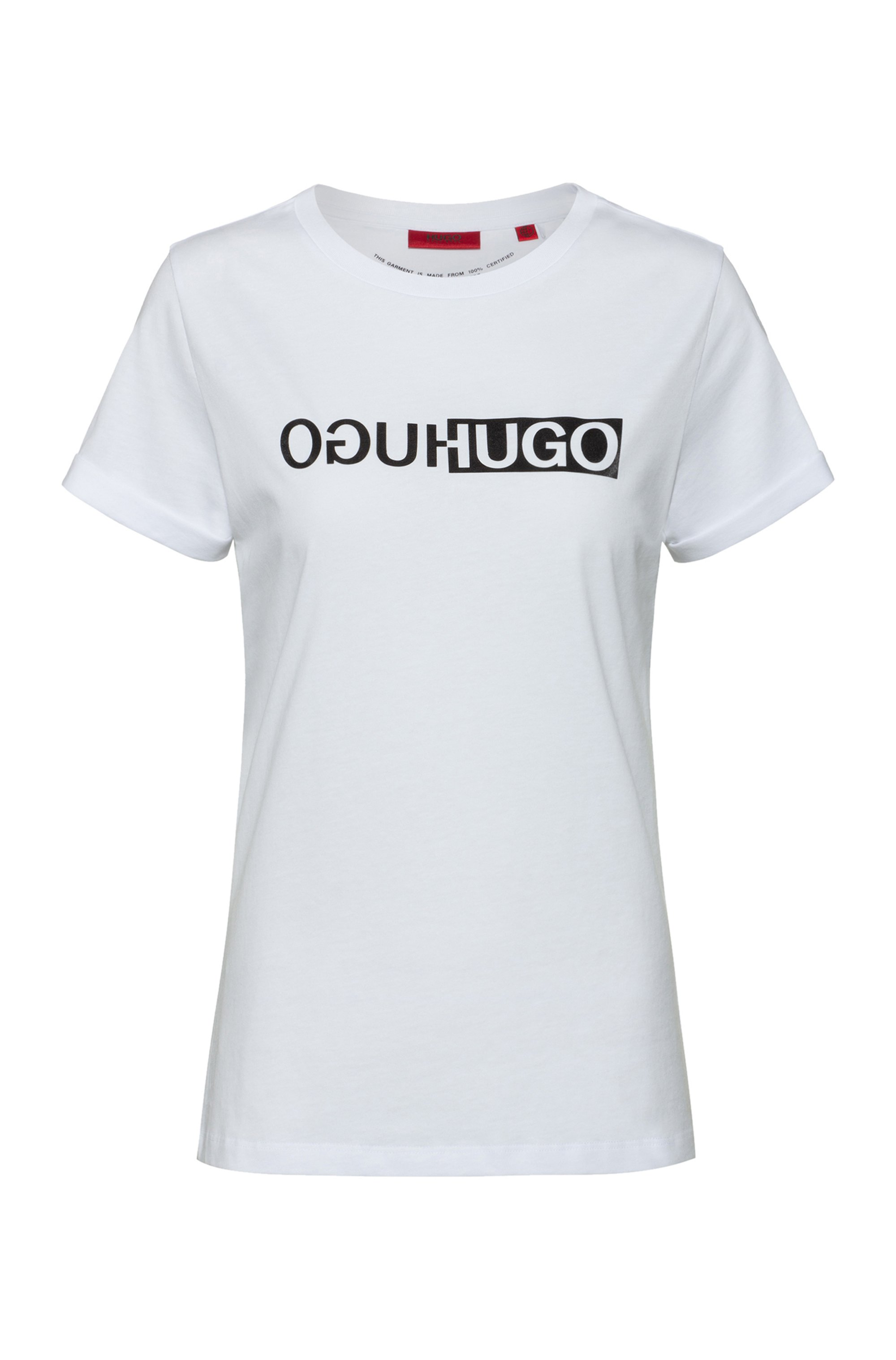 スリムフィット オーガニックコットン Tシャツ ニューシーズン ロゴプリント, ホワイト