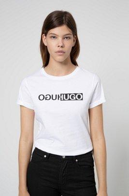 Slim-fit organic-cotton T-shirt with new-season logo print, White