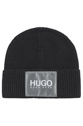 Cotton-blend beanie hat with reflective logo badge, Black