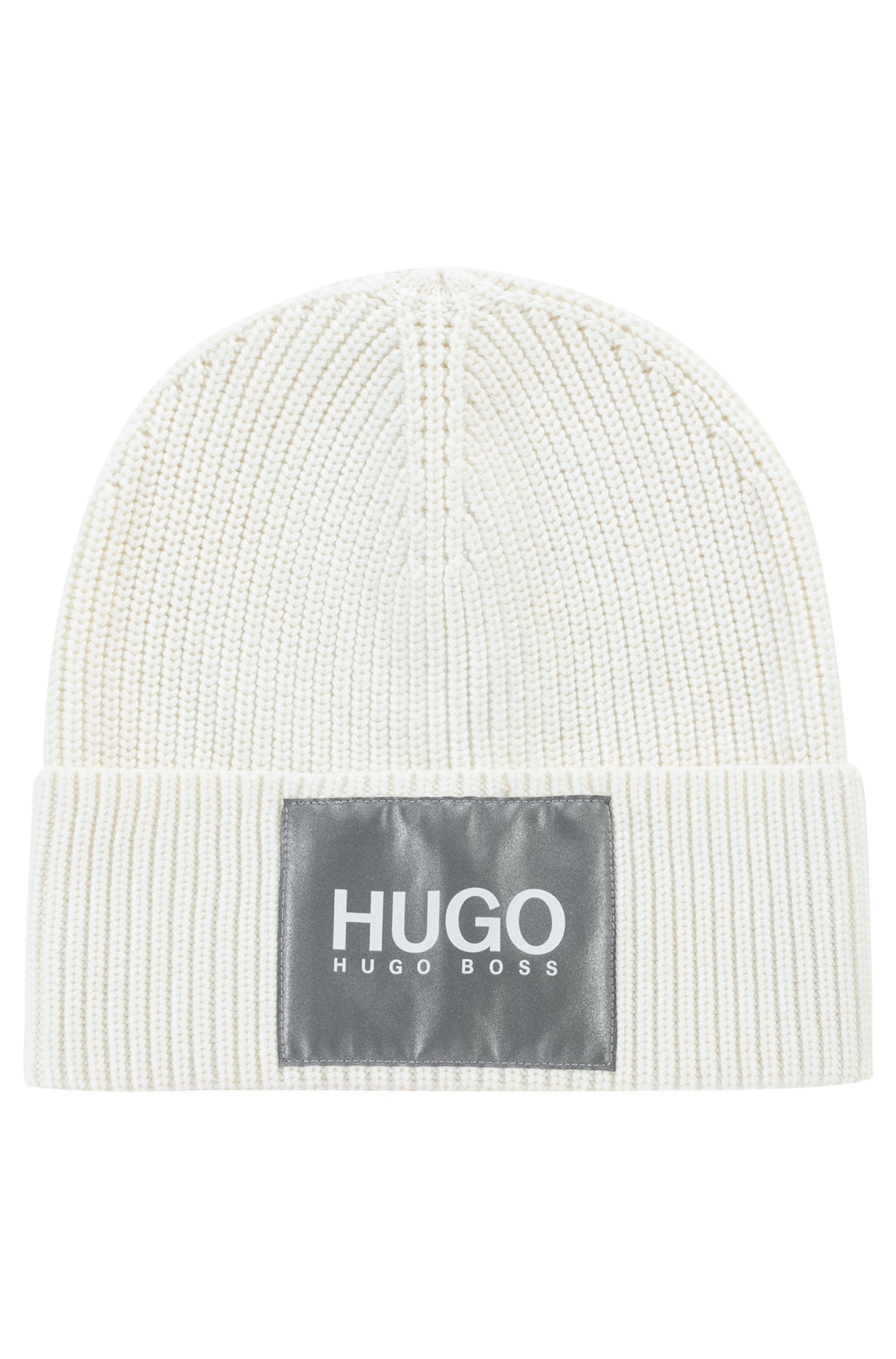 Cotton-blend beanie hat with reflective logo badge, White