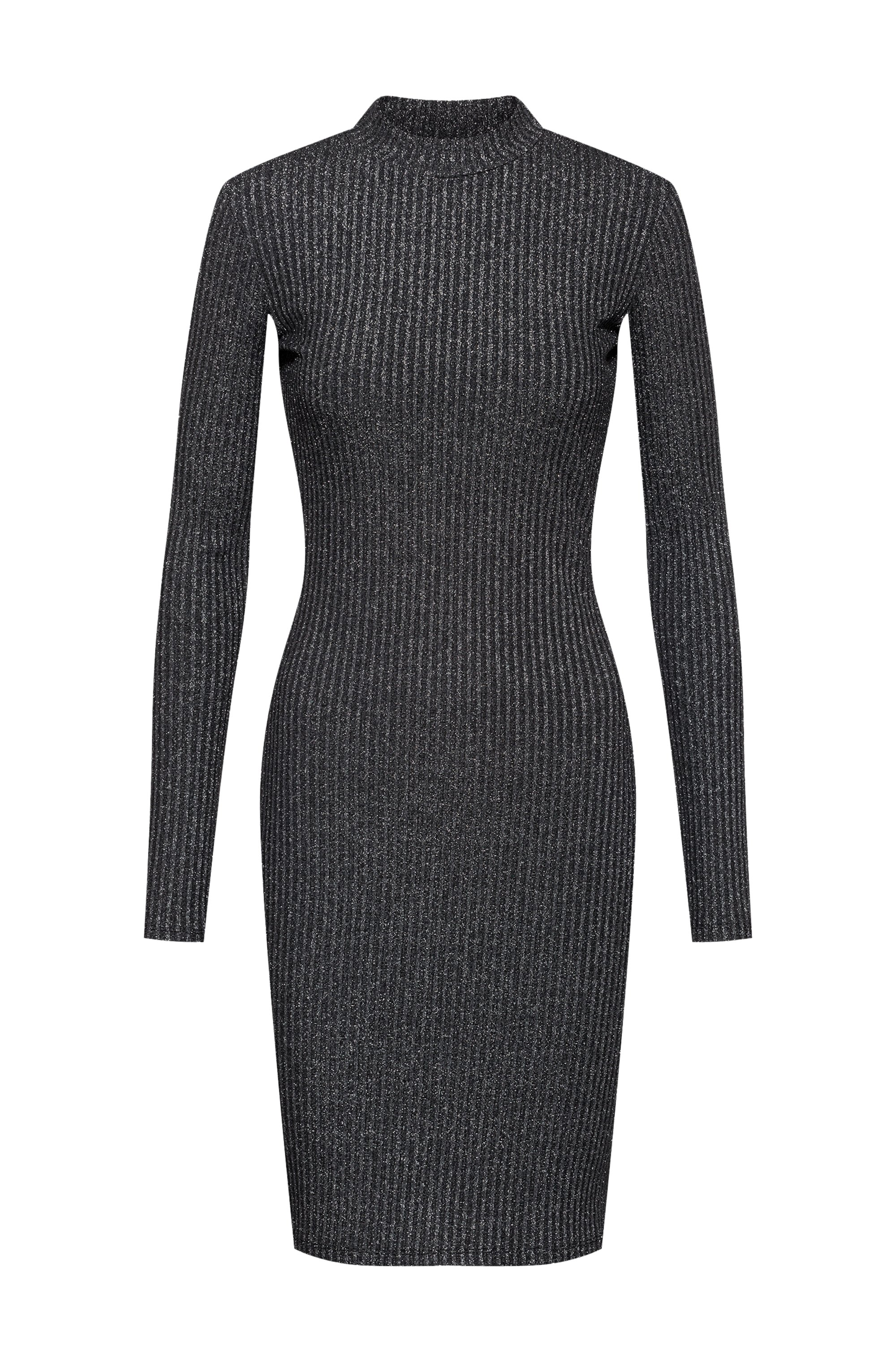 Glittery effect tube dress in ribbed stretch jersey, Black