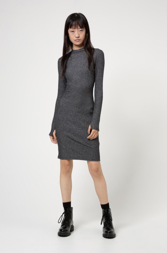 Glittery effect tube dress in ribbed stretch jersey