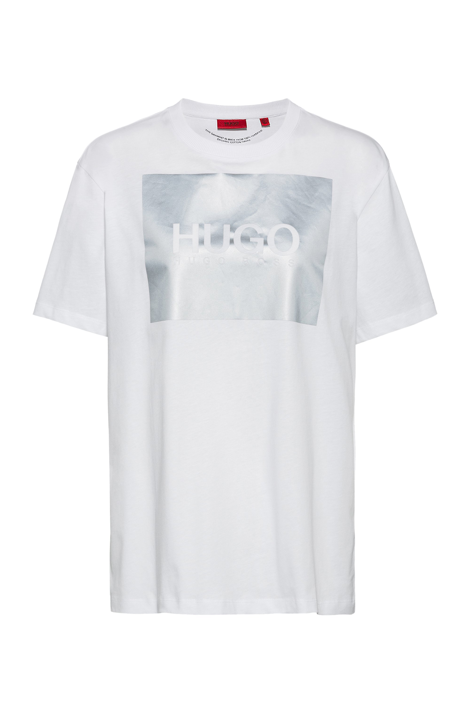 Relaxed-fit T-shirt in organic cotton with reflective logo print, White
