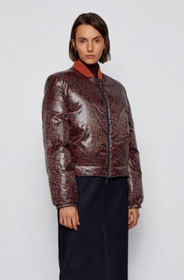Reversible down jacket in water-repellent fabric, Patterned