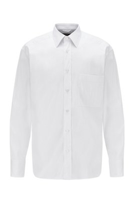 Camicia relaxed fit in misto cotone, Bianco