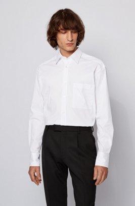 Camisa relaxed fit en mezcla de algodón, Blanco