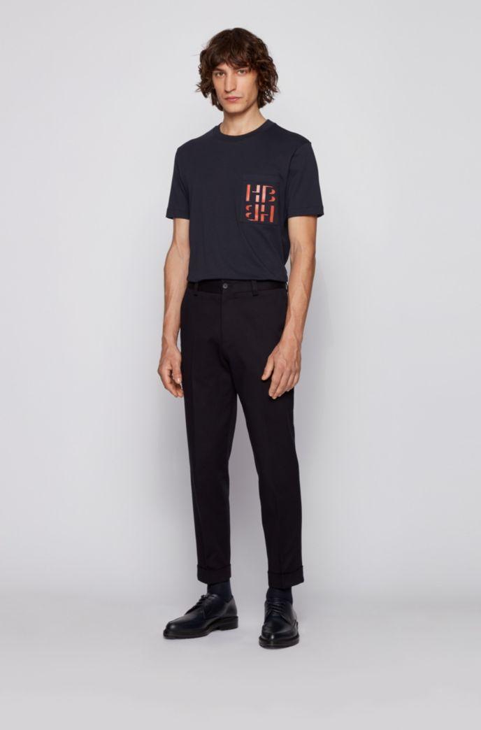 T-shirt van katoen met ronde hals en monogramprint