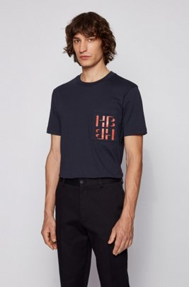 Crew-neck T-shirt in cotton with monogram print, Dark Blue