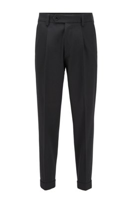 Oversized-fit trousers in a micro-patterned cotton blend, Black