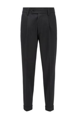 Pantalon Oversized Fit en coton mélangé à micromotif, Noir