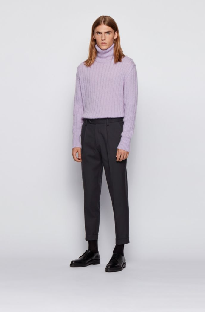 Oversized-fit trousers in a micro-patterned cotton blend