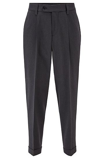微图案棉质混纺宽松长裤,  061_淡灰色