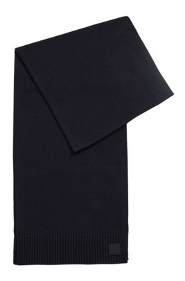 Knitted scarf with two-tone ribbed hem, Dark Blue