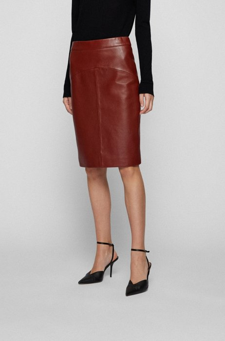 Pencil skirt in nappa leather with rear slit, Brown