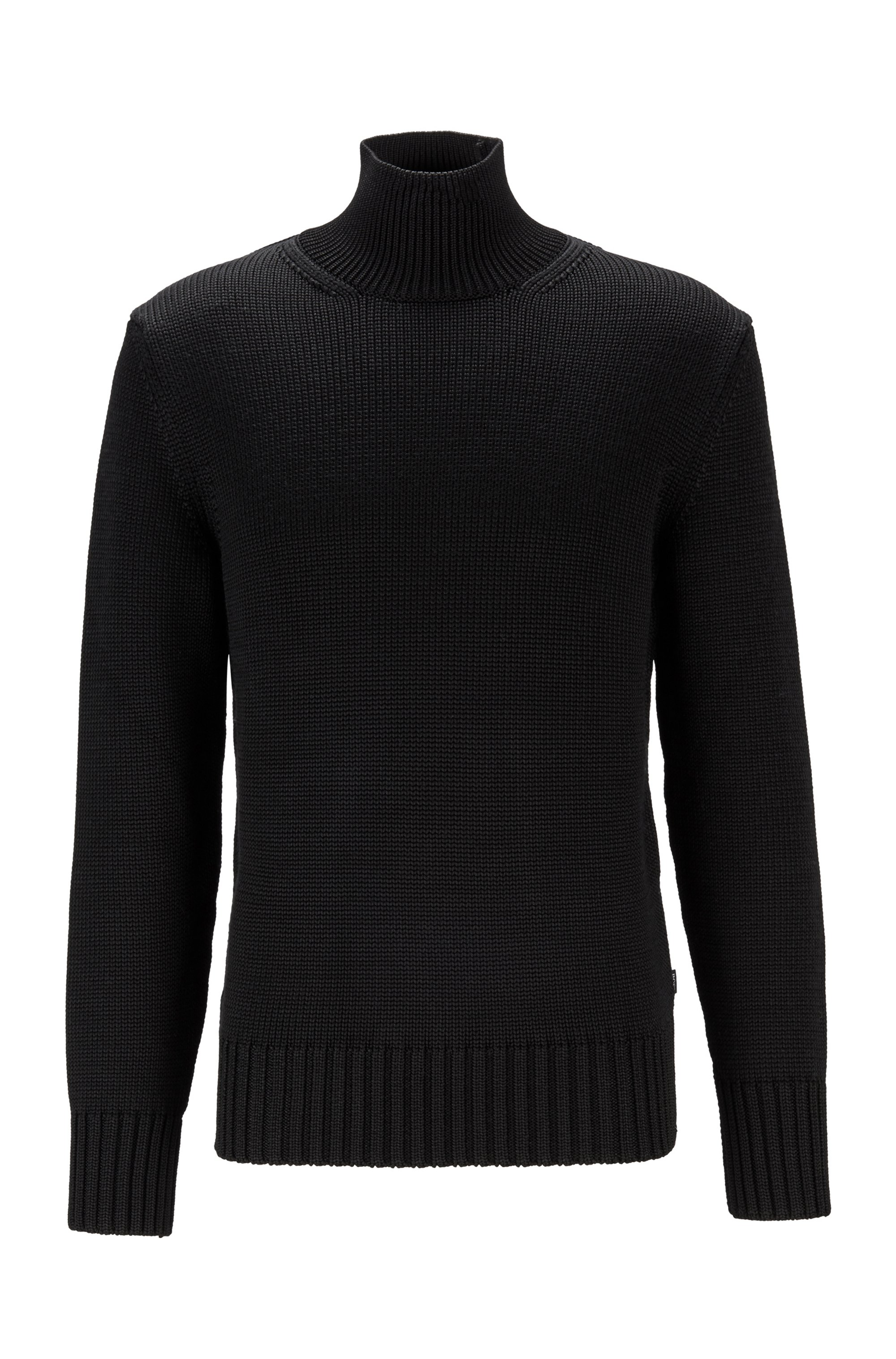 Mock-neck sweater with ribbed trims, Black