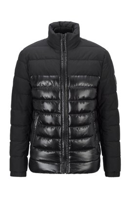 Water-repellent hybrid jacket with recycled filling, Black
