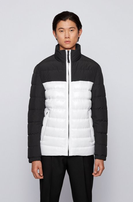 Water-repellent hybrid jacket with recycled filling, White
