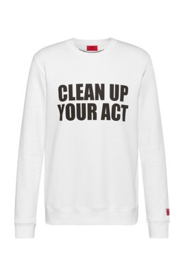 Unisex slogan-print sweatshirt in Recot2® cotton, White