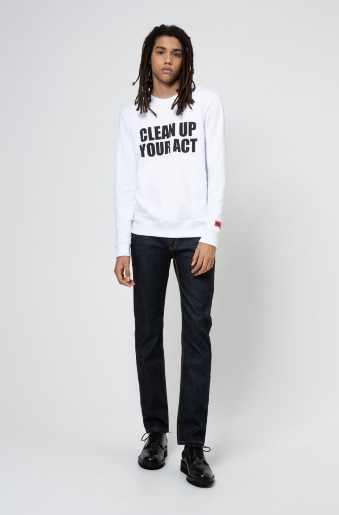 Unisex slogan-print sweatshirt in Recot2® cotton