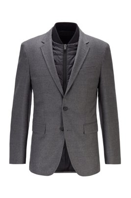 Slim-fit jacket in stretch wool with detachable inner, Grey