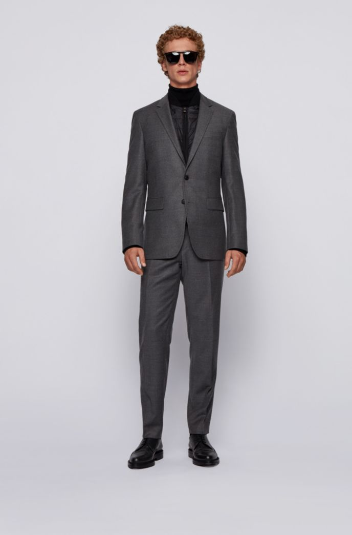 Slim-fit jacket in stretch wool with detachable inner