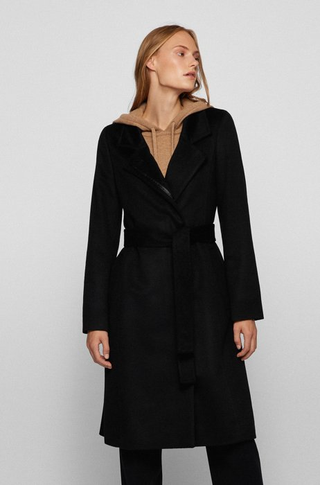 Belted coat in Italian virgin wool with zibeline finish, Black