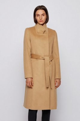 Belted coat in Italian virgin wool with zibeline finish, Light Brown