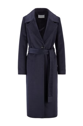 Belted-waist relaxed-fit coat in zibeline virgin wool, Light Blue