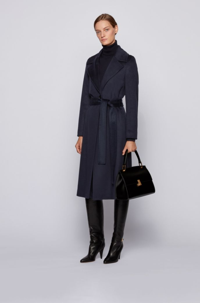 Belted-waist relaxed-fit coat in zibeline virgin wool