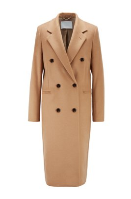 Long-line coat in virgin wool with fringe detailing, Light Brown