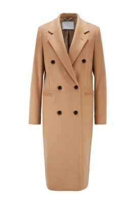 Manteau long en laine vierge, avec franges, Brun chiné