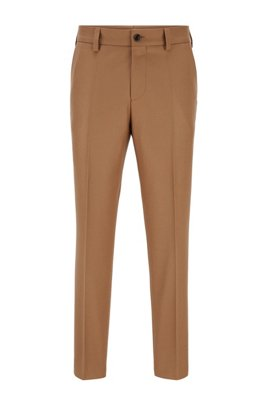 Relaxed-fit trousers in melange virgin wool, Beige